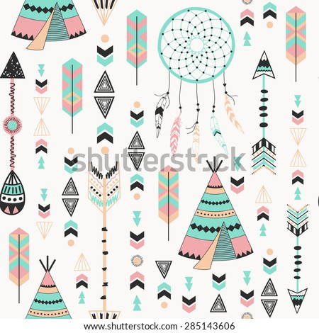ethnic background with feathers
