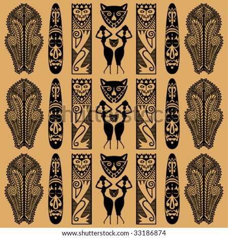 stock vector : ethnic black African ornament on a beige background.