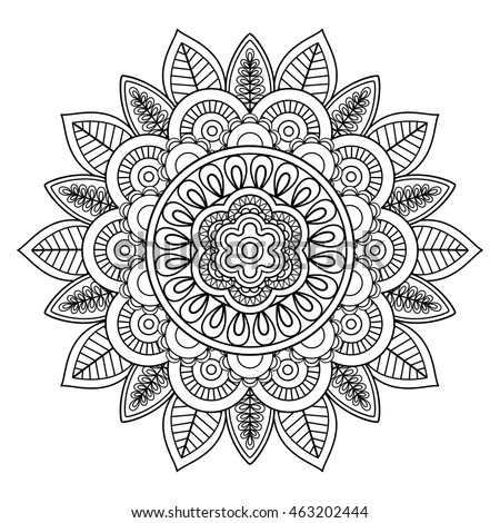 Ethnic boho doodle floral mandala. Vector illustration