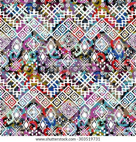 Ethnic boho seamless pattern. Tribal art print. Colorful background texture. Fabric, cloth design, wallpaper, wrapping