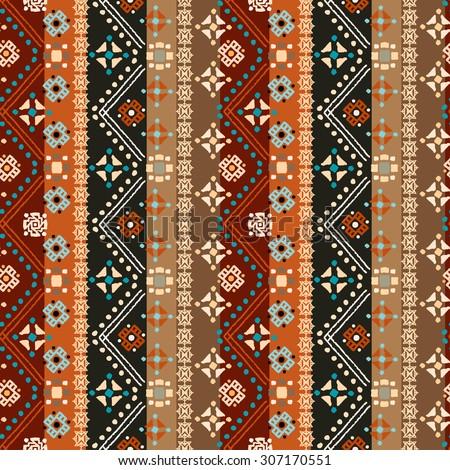 Ethnic Boho Seamless Pattern Tribal Art Print Colorful