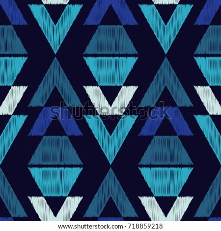 Ethnic boho seamless pattern. Tribal pattern. Embroidery on fabric. Scribble texture. Retro motif. Textile rapport. - Shutterstock ID 718859218