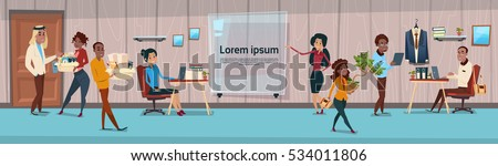 Ethnic Business People Group Seminar Training Conference Brainstorming Presentation Mix Race Team Businesspeople Office Flat Vector Illustration