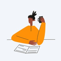ethnic business woman working with documents and coffee.Deadline at work.Secretary and clerk.Office in a government agency. A break during work.the manager analyzes the data.Flat textured character