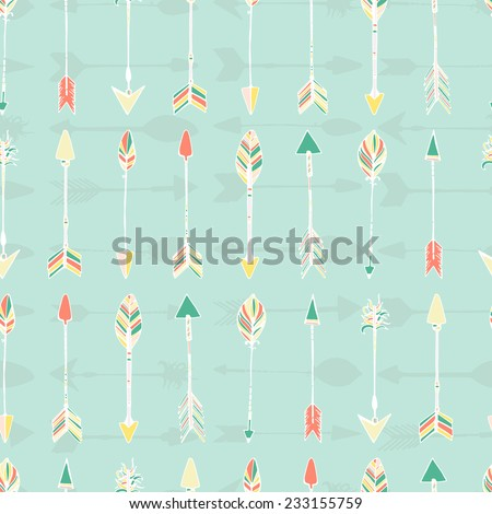 Ethnic colorful seamless pattern made in vecor. Texture with tribal indian hand drawn arrows. Native american background design.