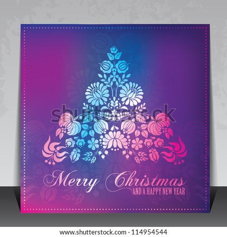 Ethnic decorative Christmas card vector with Hungarian folklore ornaments