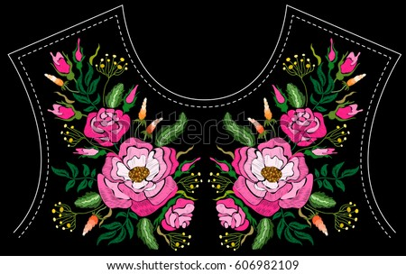 ethnic embroidery rose peony