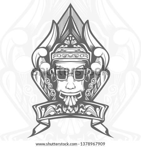 ethnic face line art illustration