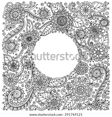 ethnic floral zentangle  doodle