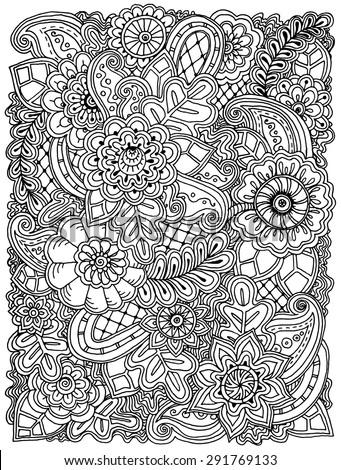 ethnic floral zentangle  doodle