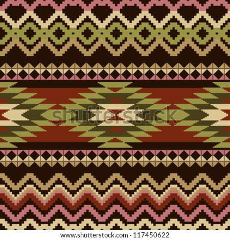 Ethnic geometric ornamental seamless pattern
