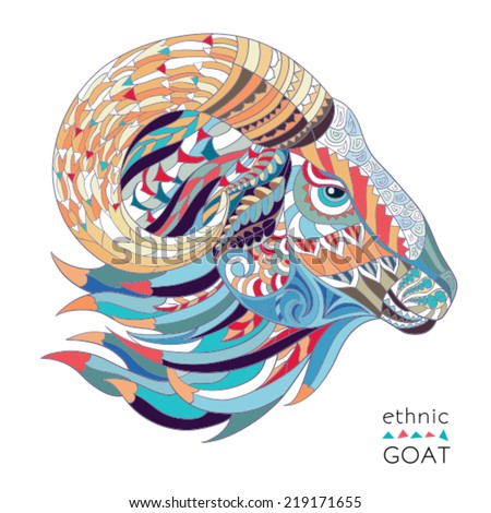 Ethnic goat african indian totem symbol of new year 2015