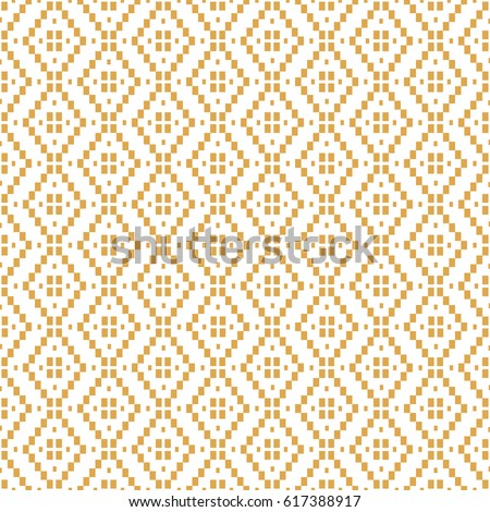 Ethnic Gold and White Vector Pattern with rhombs. Geometric Ornament.