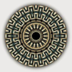 Ethnic greek mandala vector pattern. Ornamental colorful background. Repeat tribal backdrop. Geometric elegant fractal ornament. Abstract shapes, circles, frames, borders, greek key, meanders.