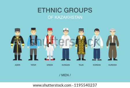 Ethnic groups of Kazakhstan. Men in traditional costume. Flat vector illustration.