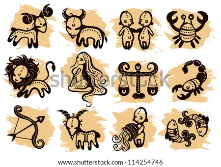Ethnic horoscope with some ornaments