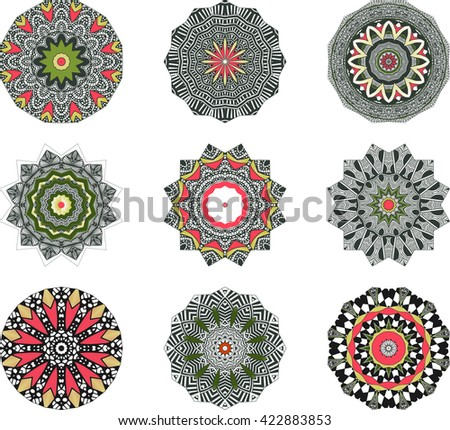 Ethnic Indian Mandala Set , Round Ornament