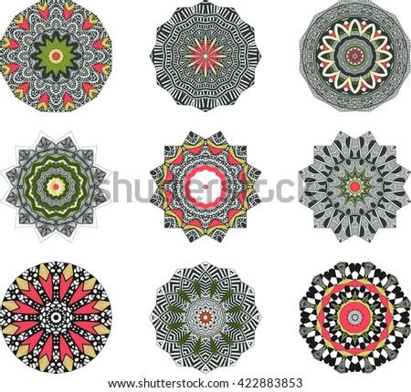 Ethnic Indian Mandala Set , Round Ornament