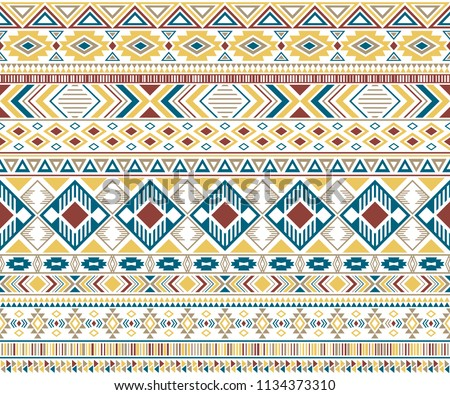Ethnic navajo tribal motifs american indian pattern seamless background vector geometric design. Clothes fabric, fashionable textile print with ethnic mayan motifs, aztec symbols in blue brown