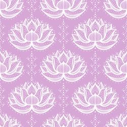 Ethnic Oriental Mehndi Lotus Flower Symbol, Seamless Pattern. White Purple Ornamental Floral Pattern Vector Background