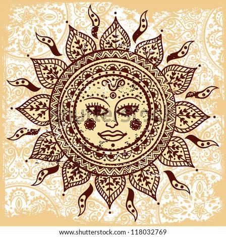 Vintage Sun Illustration Ethnic ornamental sun with