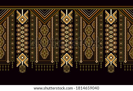 Ethnic ornamental vertical  seamless  pattern. Ethnic ornament wallpaper. Vertical geometric background. Indian, morrocan motif. Design for textile, fabric, web, cover, rug