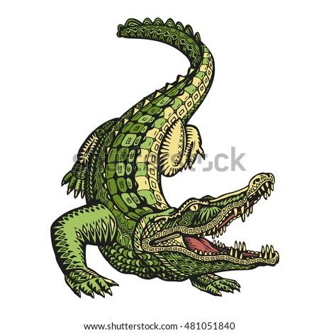 Ethnic ornamented alligator or crocodile. Hand drawn vector illustration with decorative elements