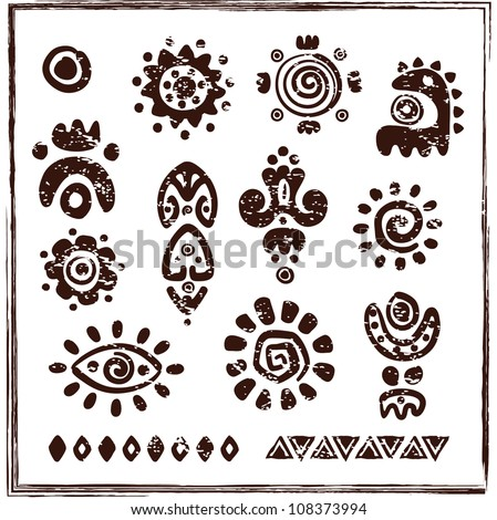 ethnic ornaments  petroglyph...