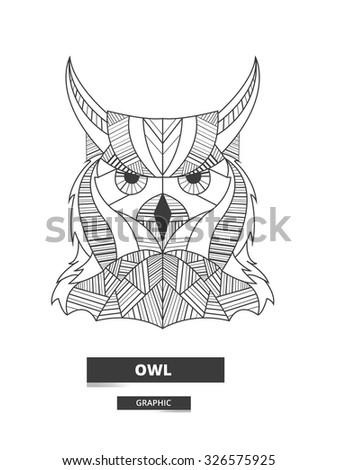 Ethnic owl. Artistic vector illustration.