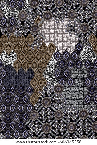 ethnic patchwork seamless design with geometric and rhombus motifs