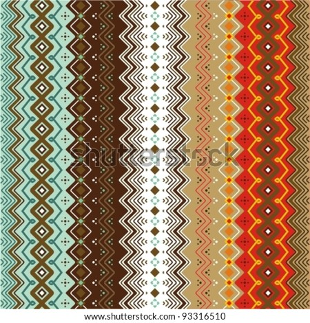 Ethnic pattern background with geometrically elements in two different color motifs