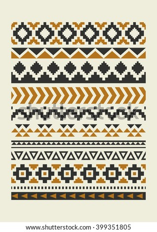 ethnic pattern elements collection. vector illustration