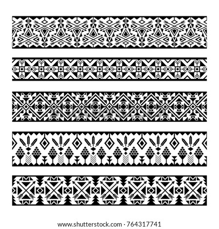 Ethnic pattern stripes. Black and white tribal mexican geometric seamless pattern borders isolated on white background #764317741