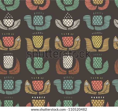 Ethnic pattern with different flowers, buds and leafs. Endless background with set of ornamental native elements. Hand drawn stylish texture for prints, covers, clothes, souvenirs