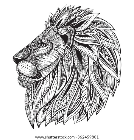 Stock Photo Ethnic patterned ornate hand drawn head of Lion. Black and white doodle vector illustration. Sketch for tattoo, poster, print or t-shirt.