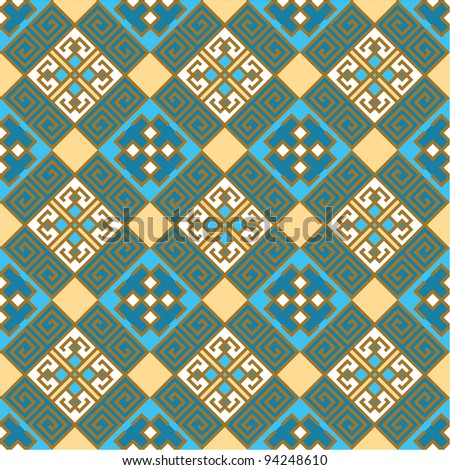 ethnic seamless background. textures in blue and gold colors