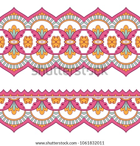 Ethnic seamless border. Hand drawn vector illustration #1061832011