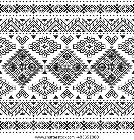Ethnic Seamless Monochrome Pattern Aztec Geometric Background Tribal Print Navajo Fabric Modern
