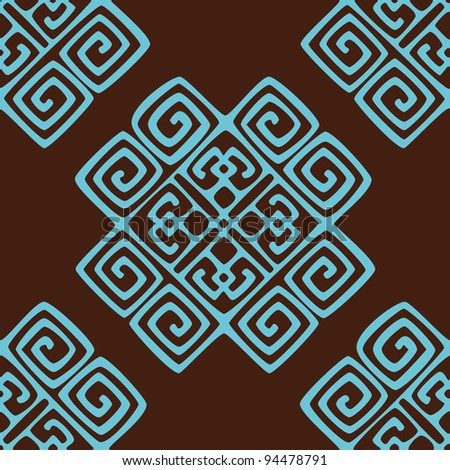 ethnic seamless pattern background in brown and blue colors, vector illustration