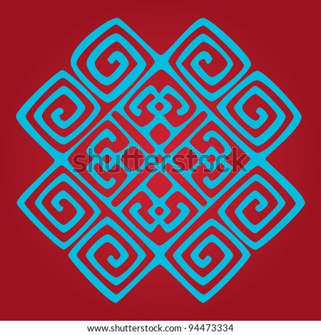 ethnic seamless pattern background in red and blue colors, vector illustration