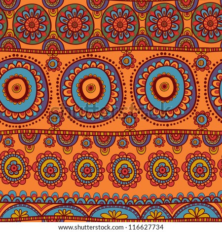 ethnic seamless pattern. Indian ornament, kaleidoscopic flora pattern, mandala. range, circle, round, disk. African abstract seamless pattern