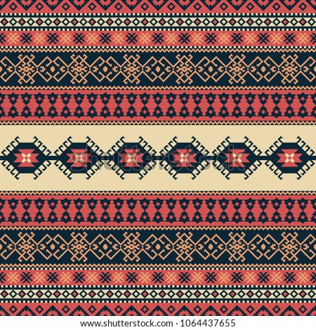 Ethnic seamless pattern. Tribal kilim. Can be used as wall and floor carpets, bedspreads, tablecloths, carpets, as an element of decor, etc. - Shutterstock ID 1064437655