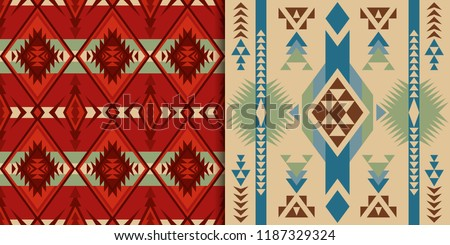 Ethnic seamless patterns. Native Southwest American, Indian, Aztec textiles. Navajo and Pueblo print.