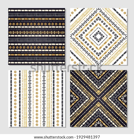 Ethnic seamless patterns. Set of 4 aztec geometric backgrounds. Collection of stylish navajo fabric prints. Tribal modern abstract vector illustration. Vector background in the boho style