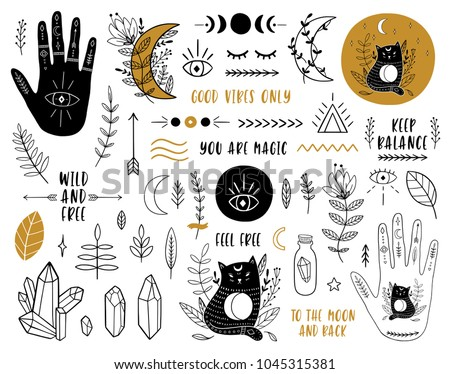 Ethnic set with hands, moon, crystals, quartz, floral, plant, cats, eye and other magic elements. Vector illustration