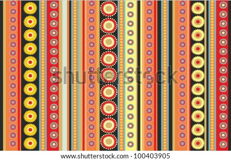 Ethnic striped pattern in black background