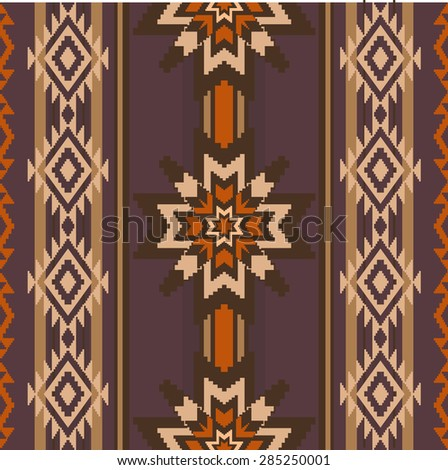 Ethnic style fabric woven ornament seamless pattern with stars and traditional geometric elements