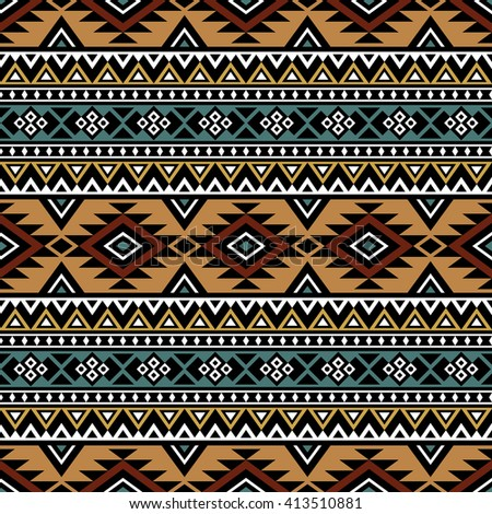 Aztec Template | Ethnic Style Seamless Pattern Boho Design Aztec Print Template For