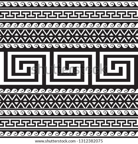 Ethnic style tribal greek borders seamless pattern. Black and white geometric striped background. greek key meanders ancient ornament. Geometrical ornamental shapes, zigzag, lines, waves, rhombus #1312382075