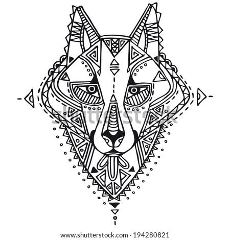 ethnic style wolf vector